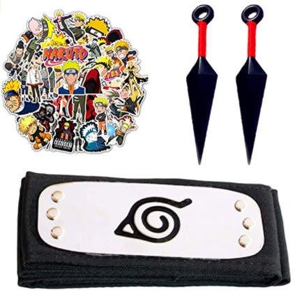 Leaf Village Headband with 2 Pcs Accessories for Ninja Fans